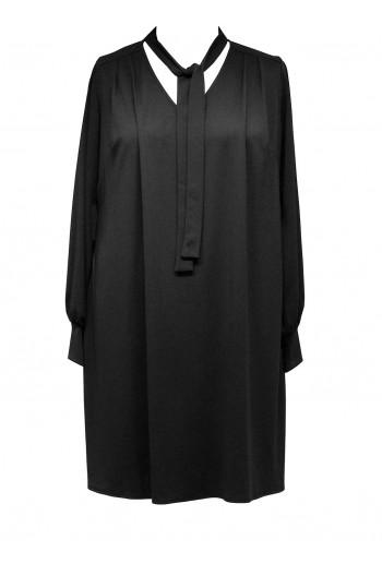 Crepe Jersey Tie Neck Tunic Dress