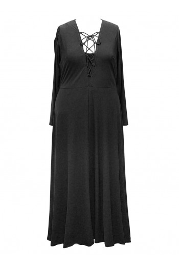 Jersey Lace-Up Maxi Dress