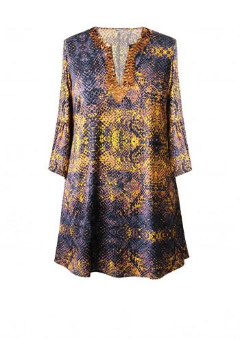 Double Silk Sequin Tunic Dress