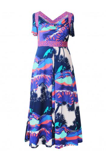 Double Silk Maxi Cowl Dress