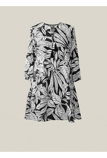 Silk Cotton Tie Tunic Dress