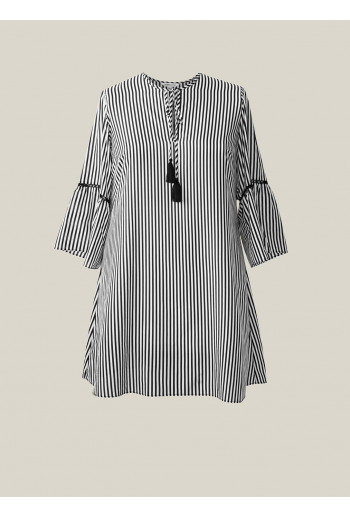 Silk Cotton Tie Tunic Dress