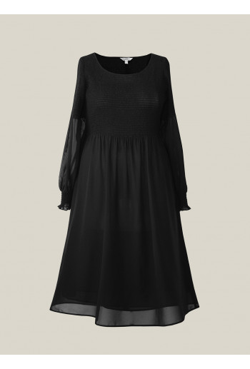 Shirred Midi Dress