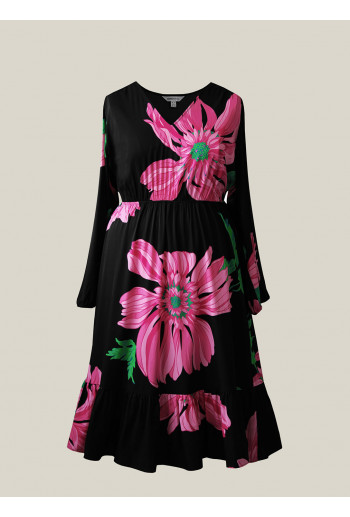 Double Silk Dress with Frill