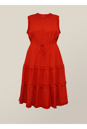 Jacquard Ruffle Drawstring Dress