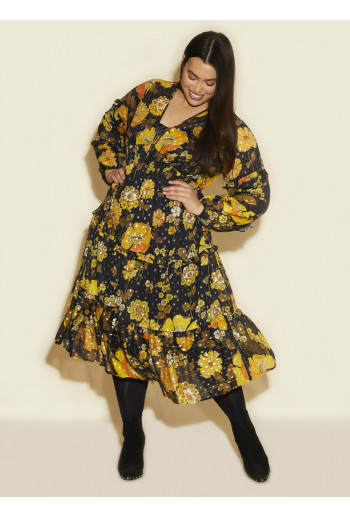 Frill V Neck Dress Yellow Poppy