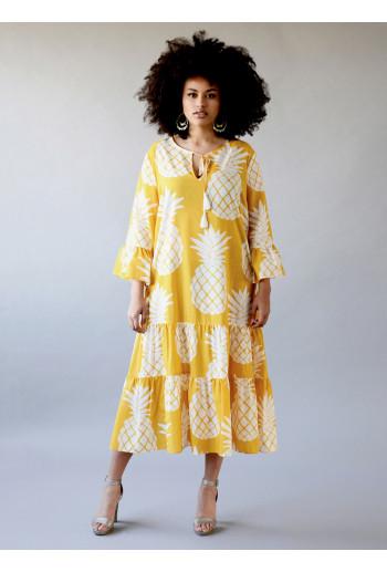 Silk Tiered Kaftan Dress