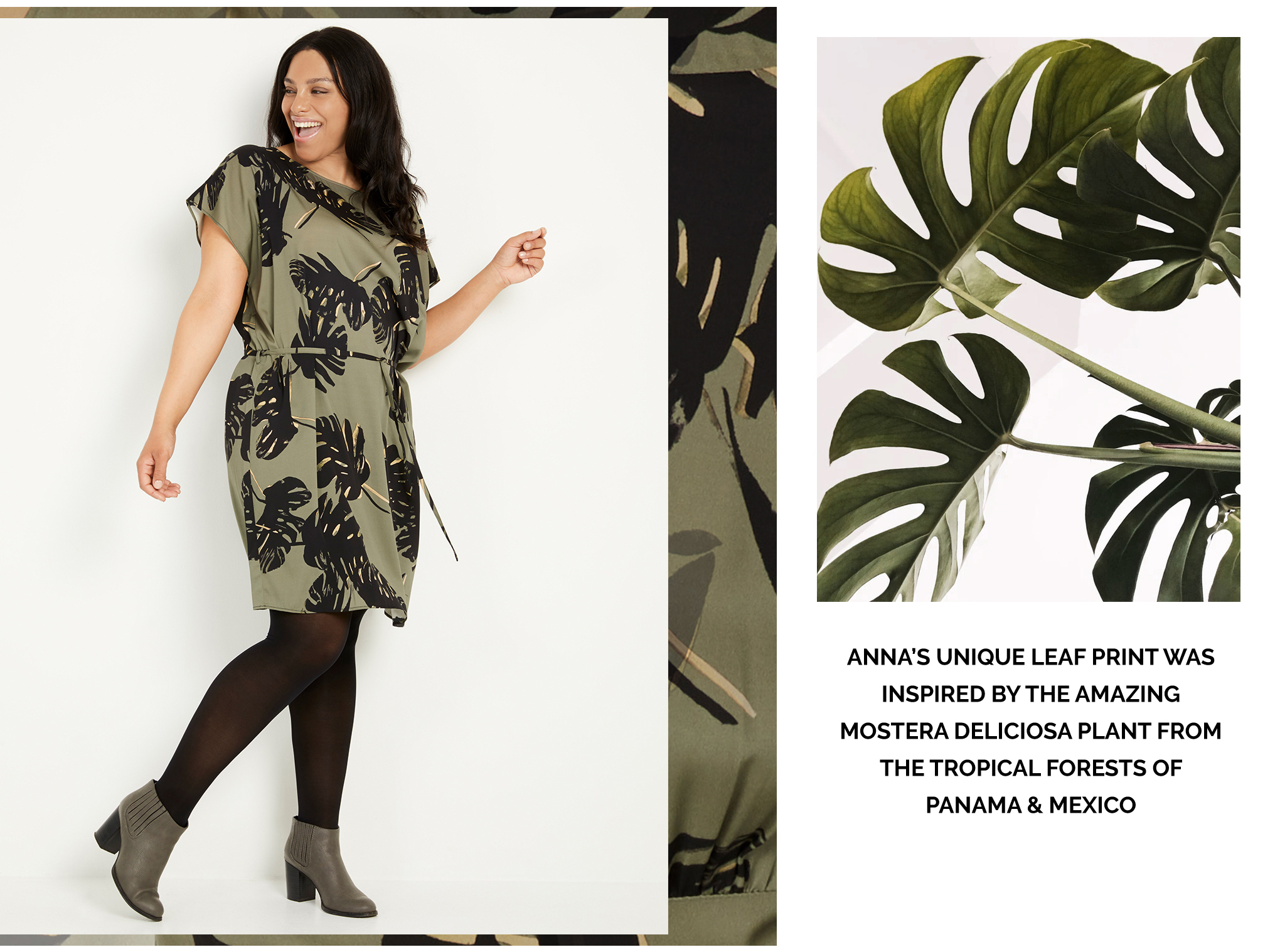 double silk square tunic dress palm leaf khaki