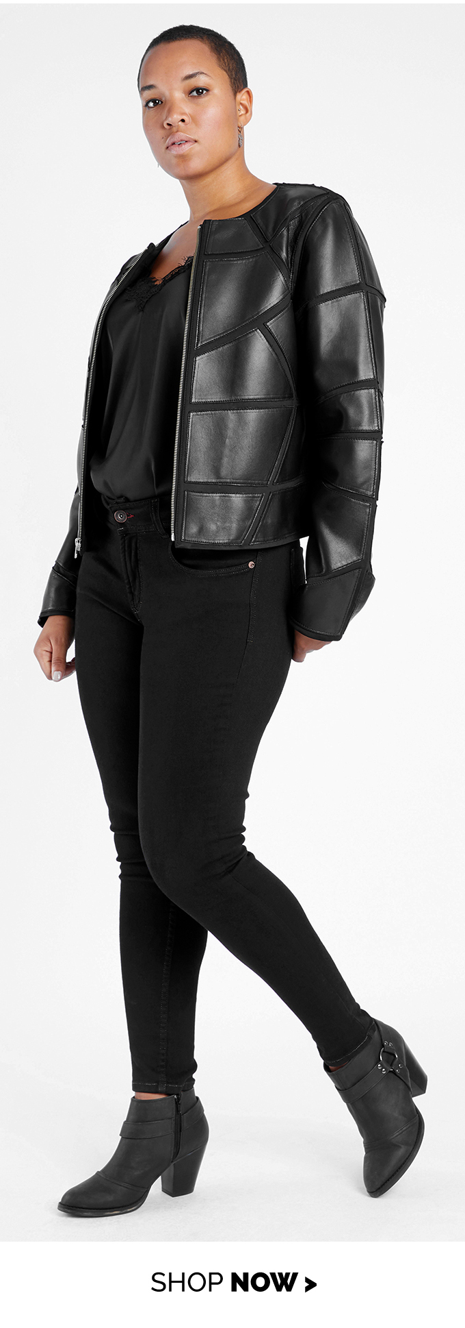 leather applique jacket black