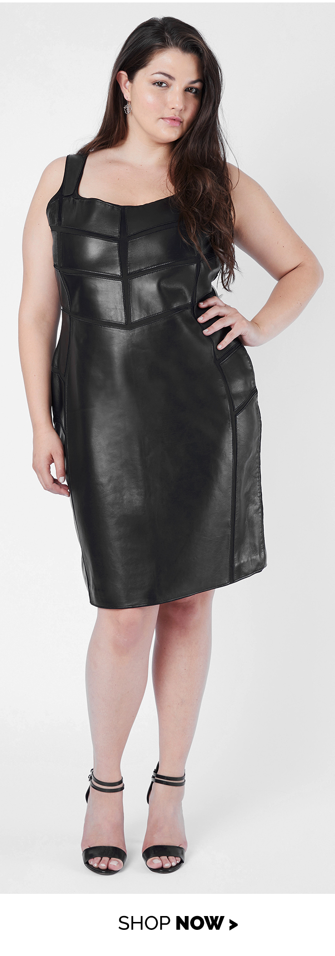 leather applique dress black