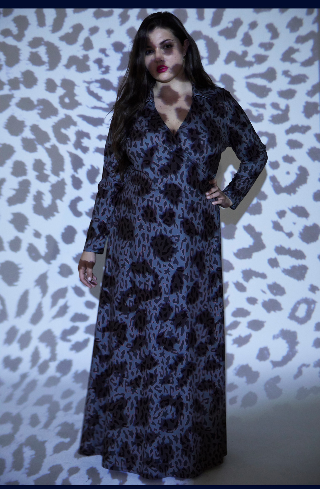 70s maxi wrap dress printed leopard grey